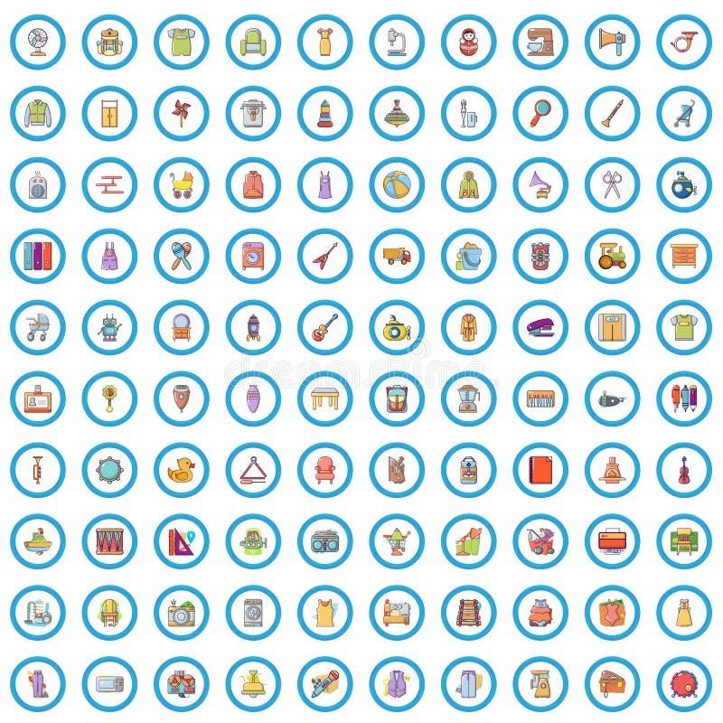 100 ícones de comércio grupo da exposição, estilo dos desenhos animados ilustração do vetor