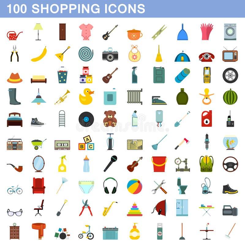100 ícones de compra ajustados, estilo liso ilustração do vetor