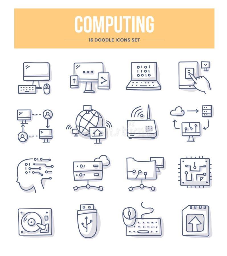 Ícones de computação da garatuja ilustração do vetor