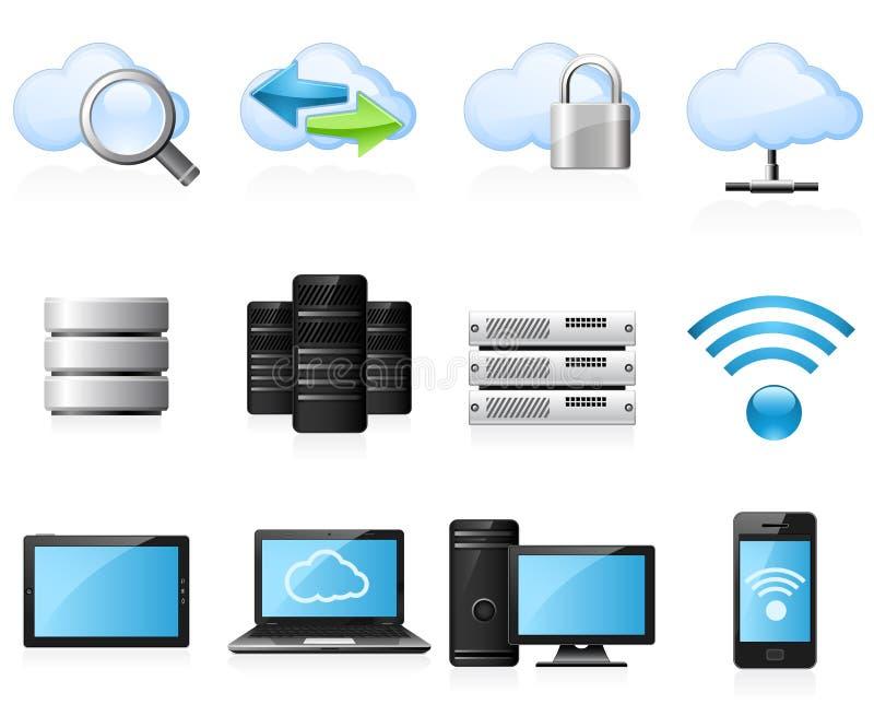 Ícones de computação da nuvem ilustração do vetor