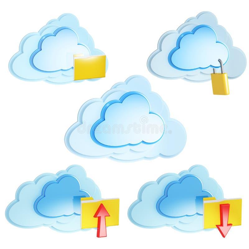 Ícones de computação da nuvem com dobradores e setas ilustração stock