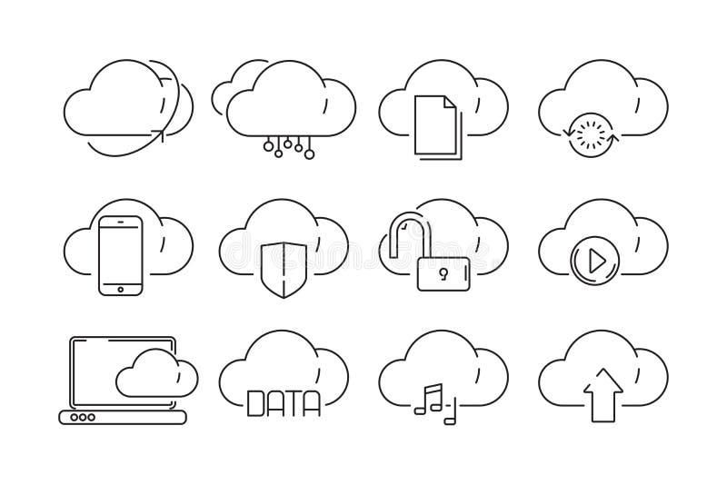Ícones de computação da nuvem Fixe o armazenamento em linha da Web com vetor conectado do ftp do Internet da informação infraestr ilustração stock
