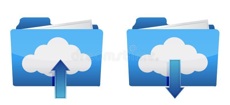 Ícones de computação da transferência de arquivo pela rede e da transferência da nuvem ilustração royalty free