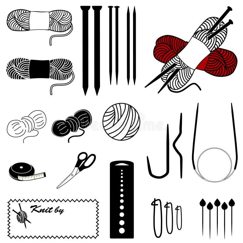 ícones de confecção de malhas de +EPS ilustração do vetor