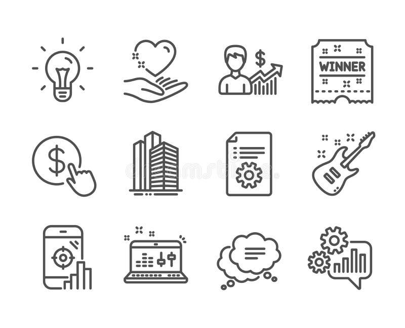 Ícones de conjunto de negócios, como CogWheel, Comprar moeda, Tíquete Vencedor Vetor ilustração royalty free
