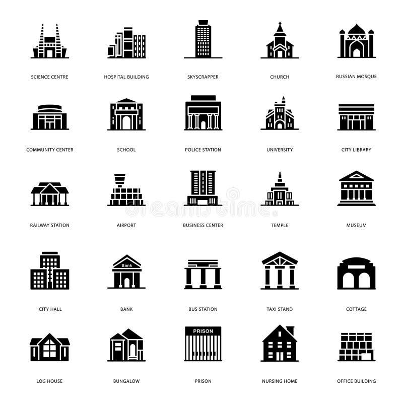 Ícones de construção do Glyph das arquiteturas ilustração do vetor