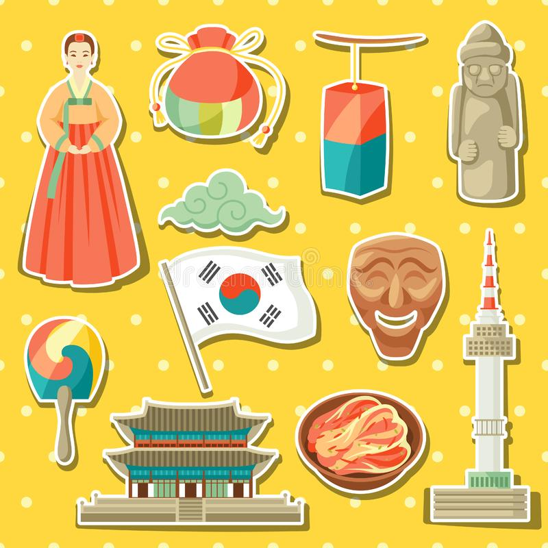 Ícones de Coreia ajustados Símbolos e objetos tradicionais coreanos da etiqueta ilustração stock