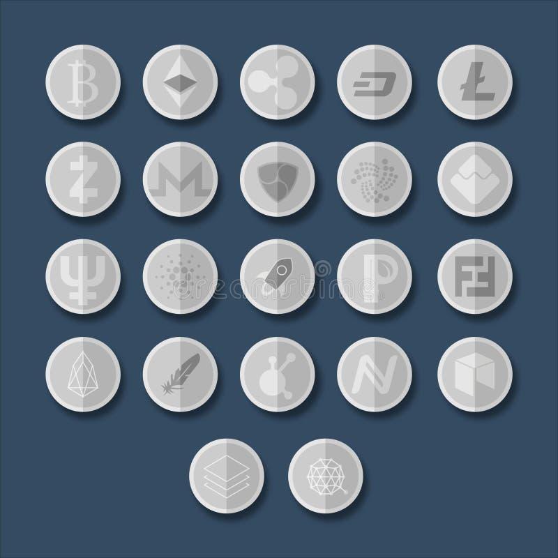 Ícones de Cryptocurrency ajustados fotografia de stock royalty free