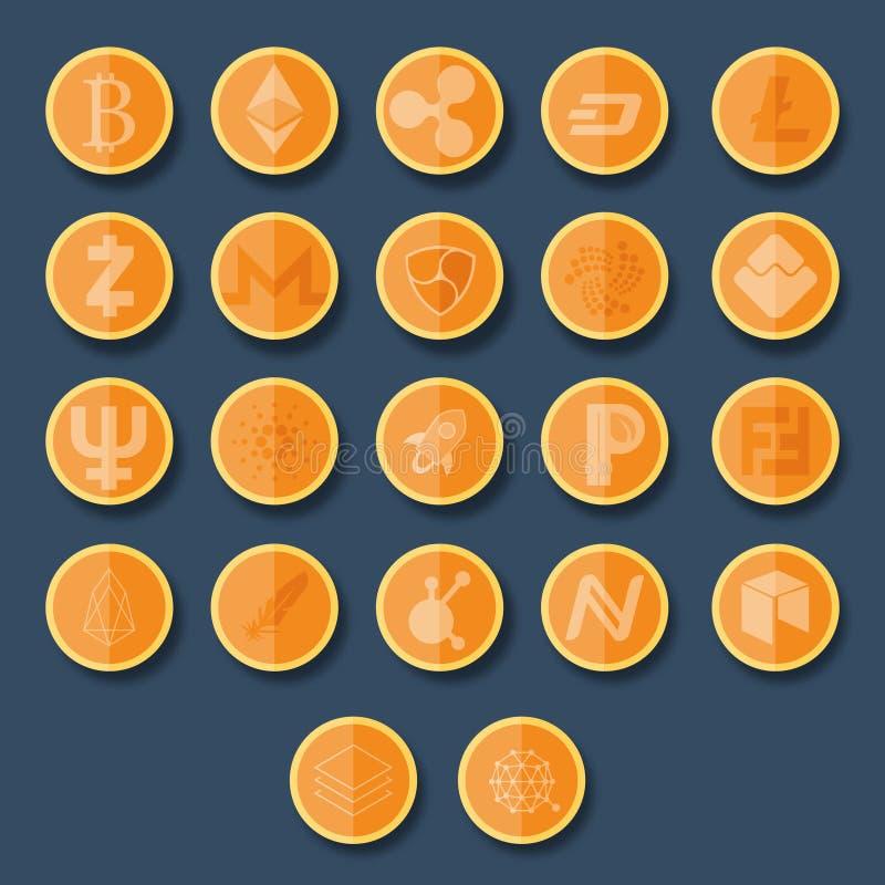Ícones de Cryptocurrency ajustados fotos de stock royalty free