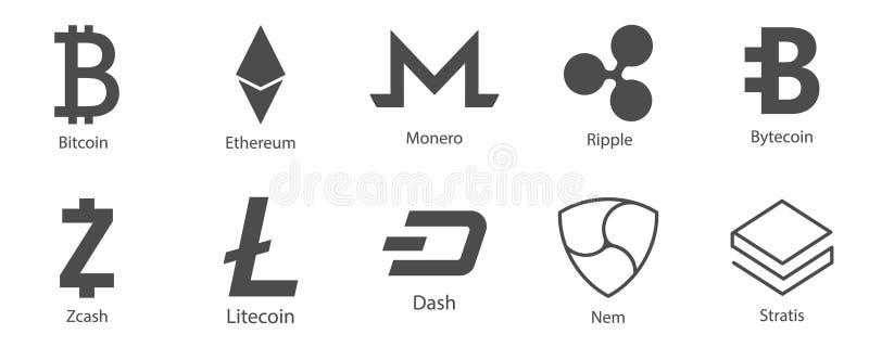 Ícones de Cryptocurrency ajustados para o dinheiro do Internet Blockchain baseou seguro Vetor ilustração stock