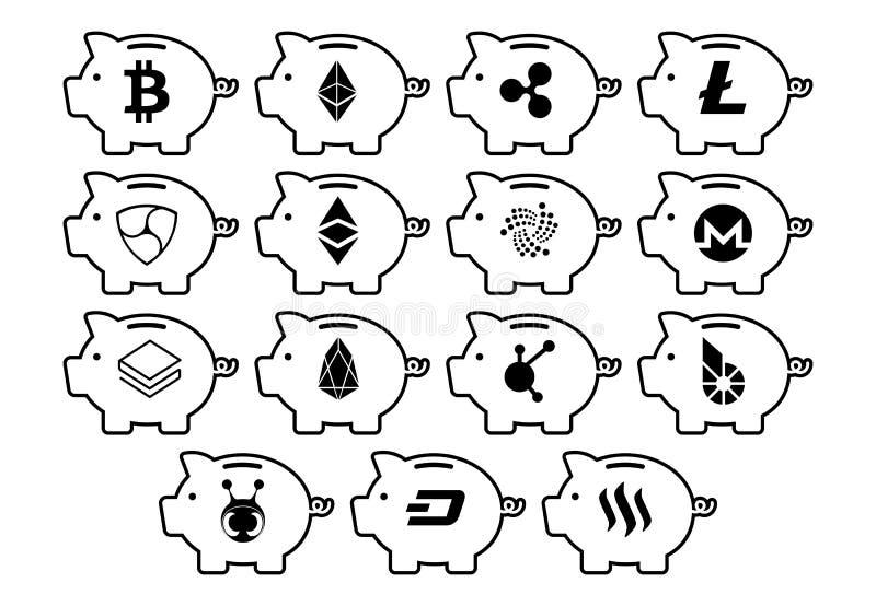 Ícones de Cryptocurrency nos mealheiros isolados ilustração do vetor
