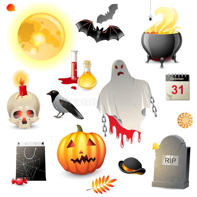 Ícones de Dia das Bruxas ajustados ilustração stock