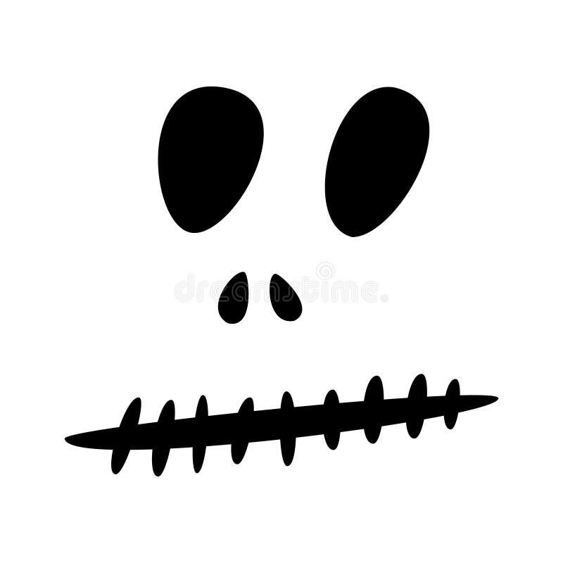 Ícones de Dia das Bruxas: o ícone monocromático fino ajustou-se, jogo preto e branco Cara assustador e engraçada do jaque, bastão ilustração do vetor