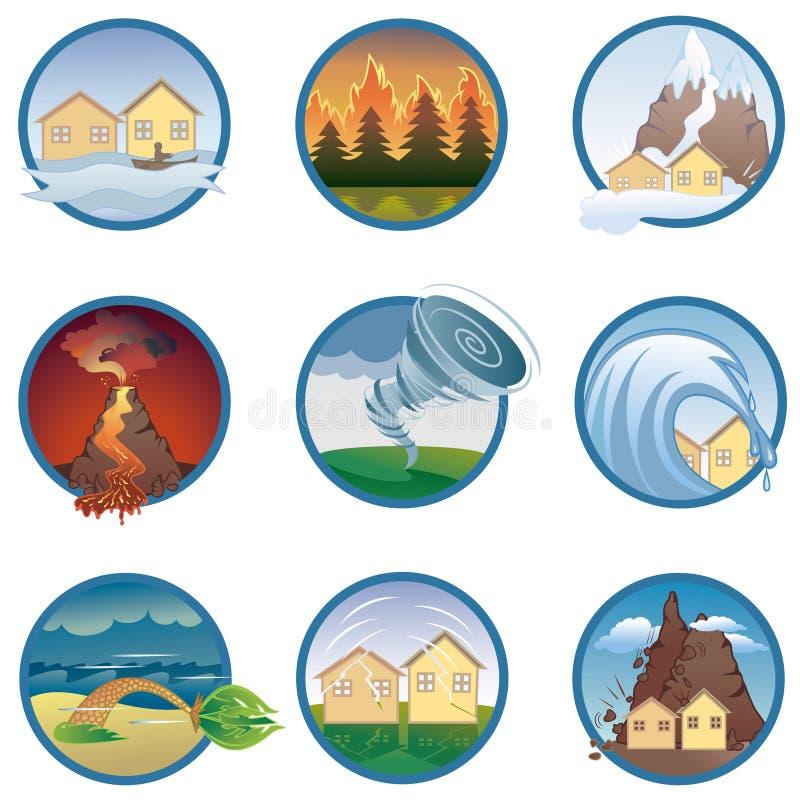 Ícones de disastres naturais imagens de stock