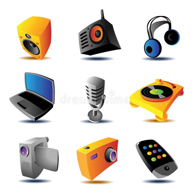 Ícones de dispositivos dos media ilustração stock