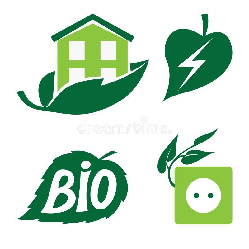 Ícones de Eco ajustados ilustração royalty free