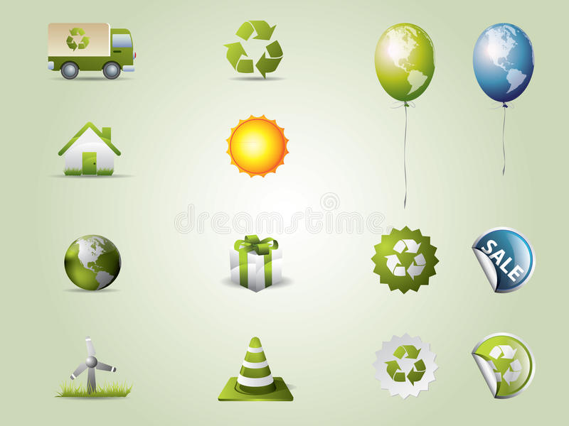 Ícones de Eco ajustados ilustração do vetor