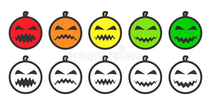Ícones de Emoji da abóbora de Dia das Bruxas ilustração do vetor