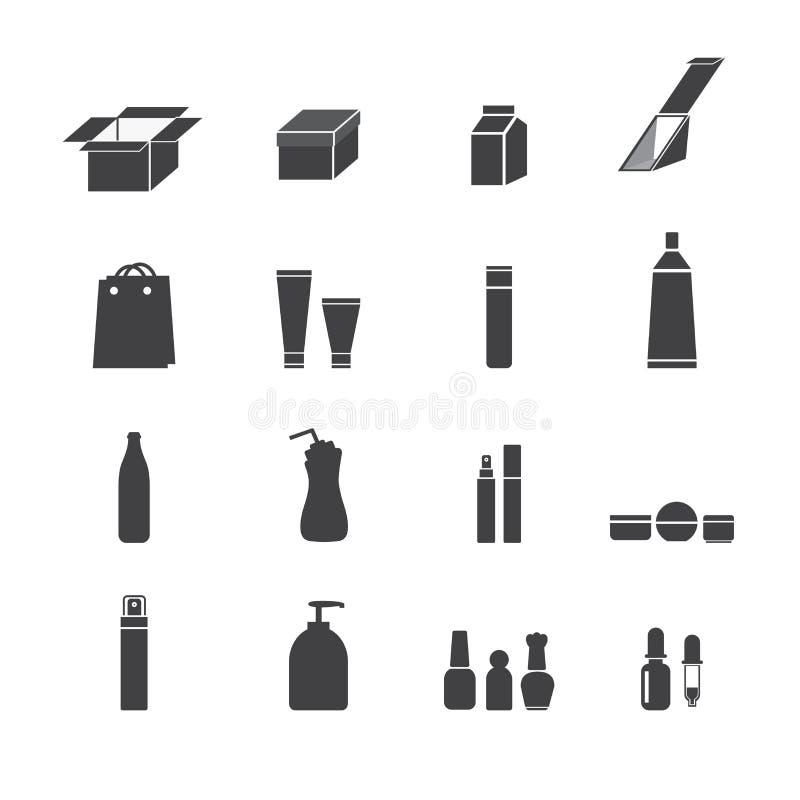 Ícones de empacotamento ilustração do vetor
