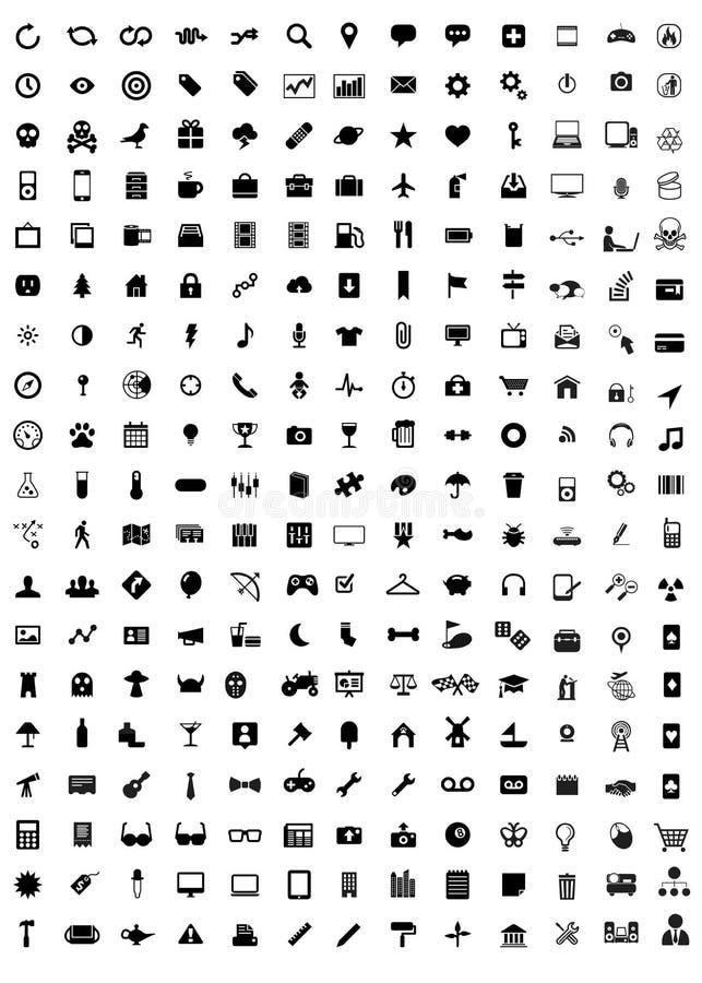 Ícones de empacotamento de uma comunicação do trabalho do curso dos media ilustração stock