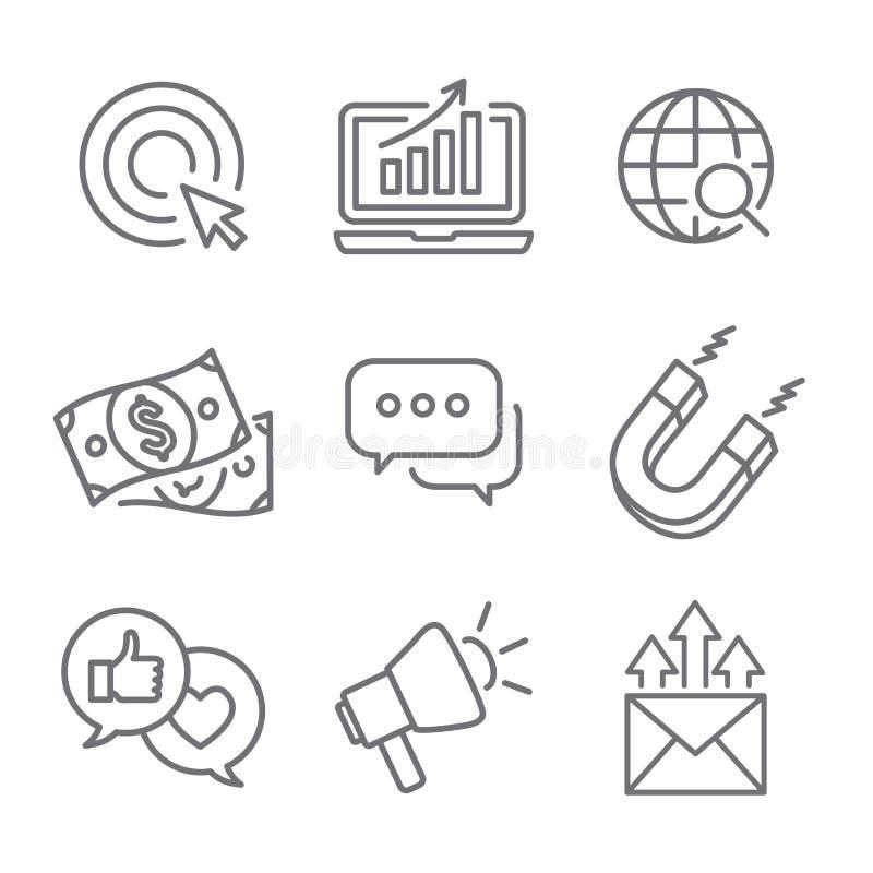 Ícones de entrada do vetor do mercado com crescimento, roi, chamada à ação, ilustração royalty free
