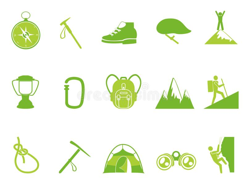 Ícones de escalada da montanha da cor verde ajustados ilustração royalty free