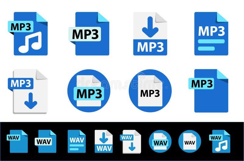 Ícones de extensões de formato de arquivo MP3, WAV Coleção de ícones vetoriais ilustração stock