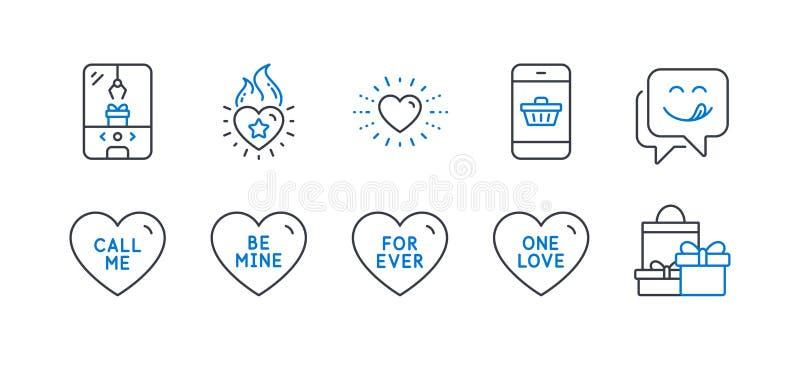 Ícones de Feriados, como a chama Heart, máquina de garra Crane, Um amor. Vetor ilustração stock