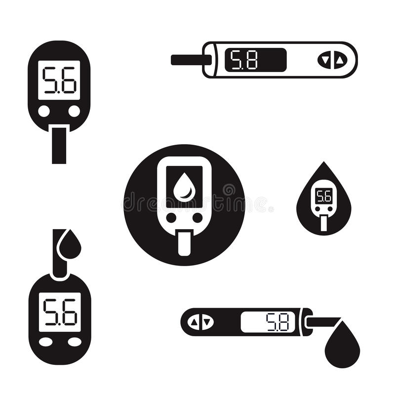 Ícones 08 A de Glucometer do diabetes ilustração do vetor