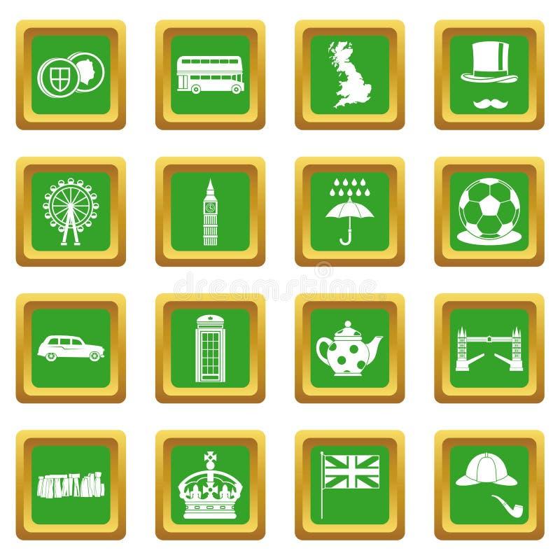 Ícones de Grâ Bretanha ajustados verdes ilustração stock