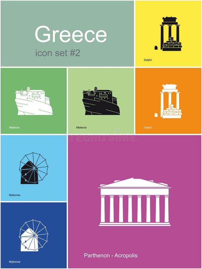 Ícones de Grécia ilustração stock