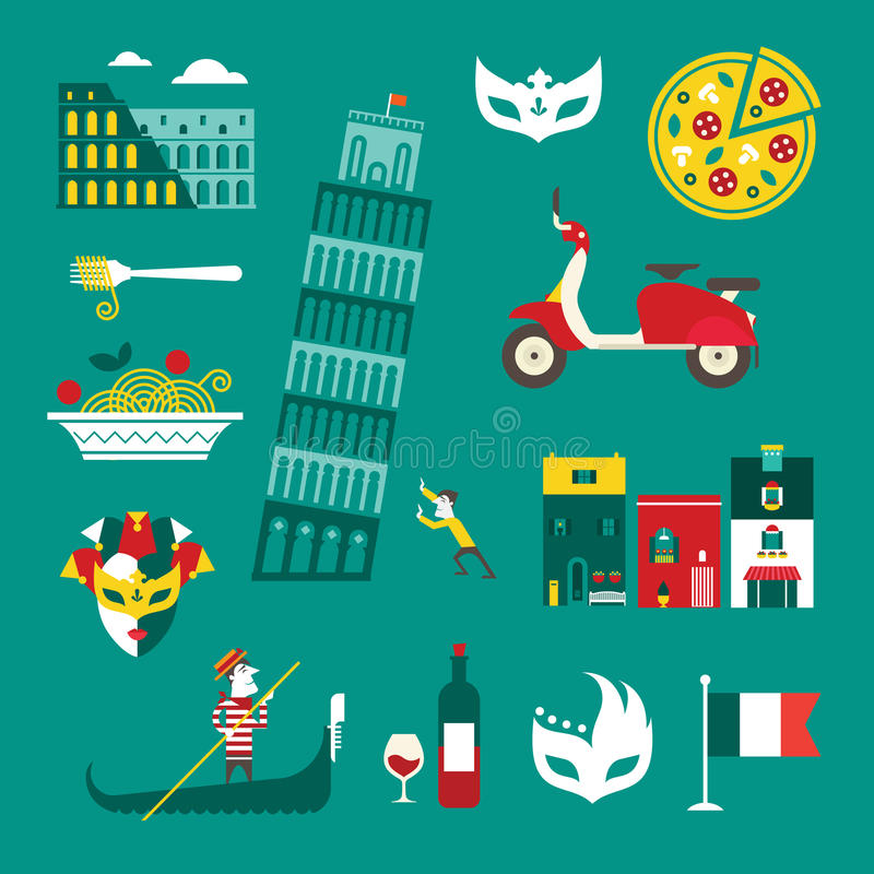Ícones de Itália ilustração do vetor