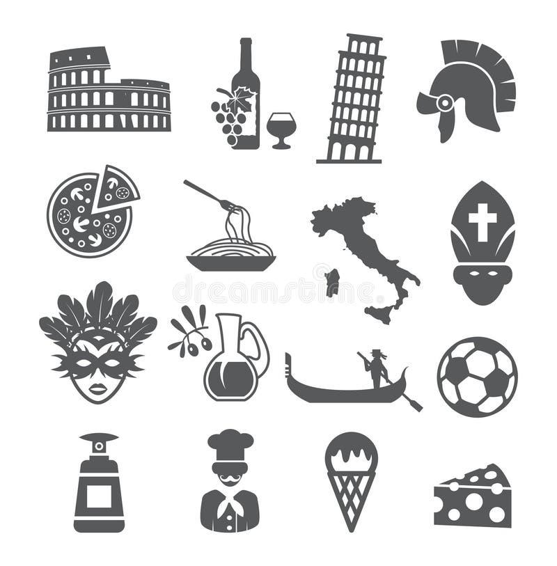 Ícones de Itália ajustados ilustração royalty free