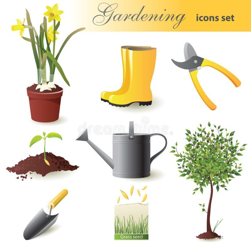 Ícones de jardinagem ajustados ilustração do vetor