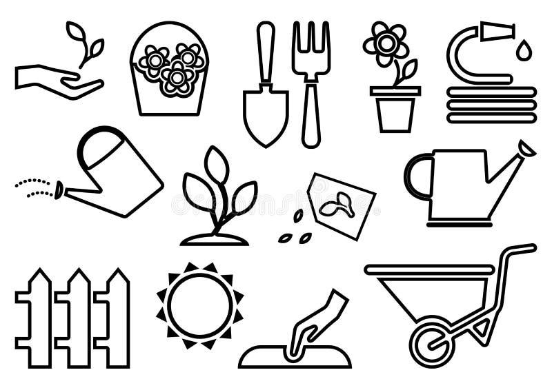 Ícones de jardinagem pretos Ilustra??o do vetor ilustração stock