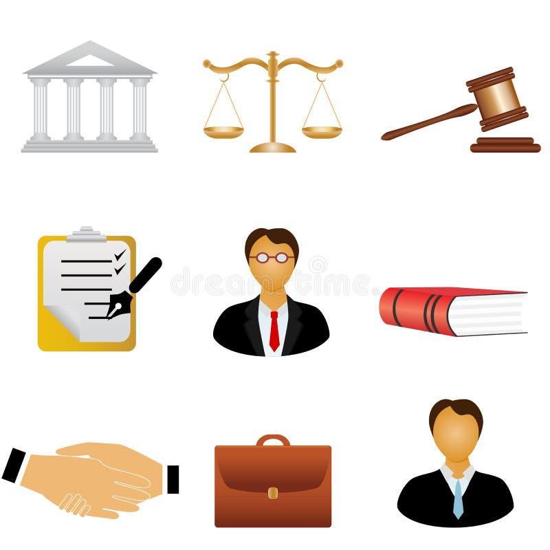 Ícones de justiça e da lei ilustração stock