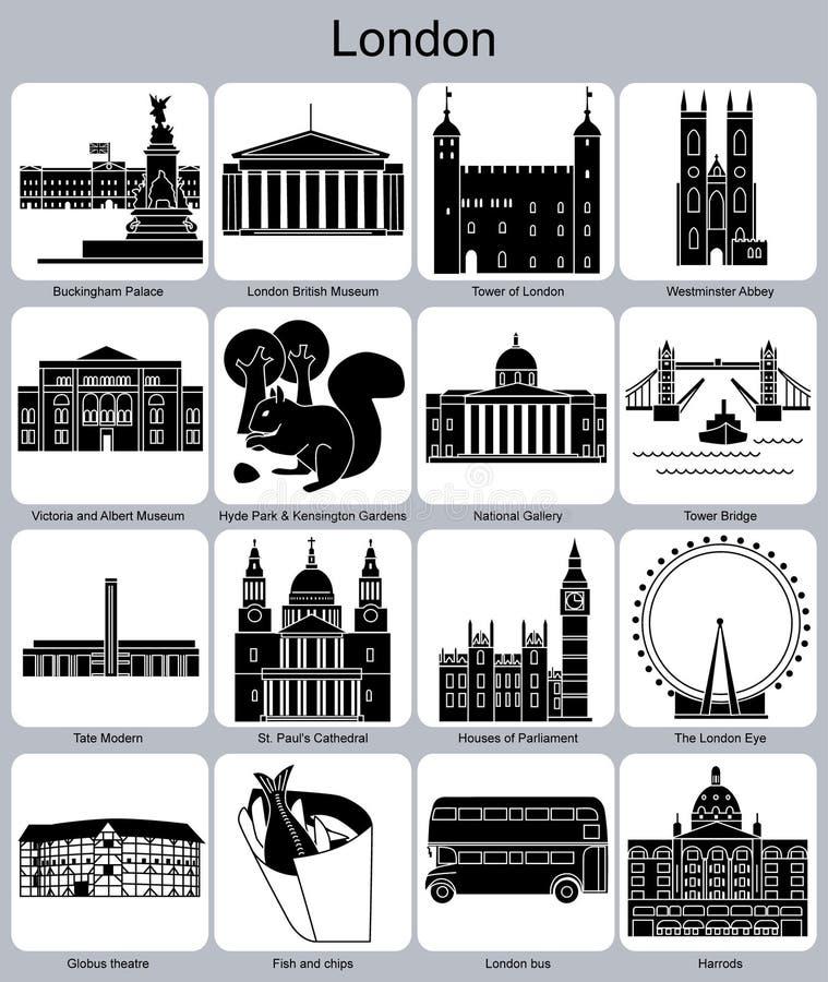 Ícones de Londres ilustração royalty free
