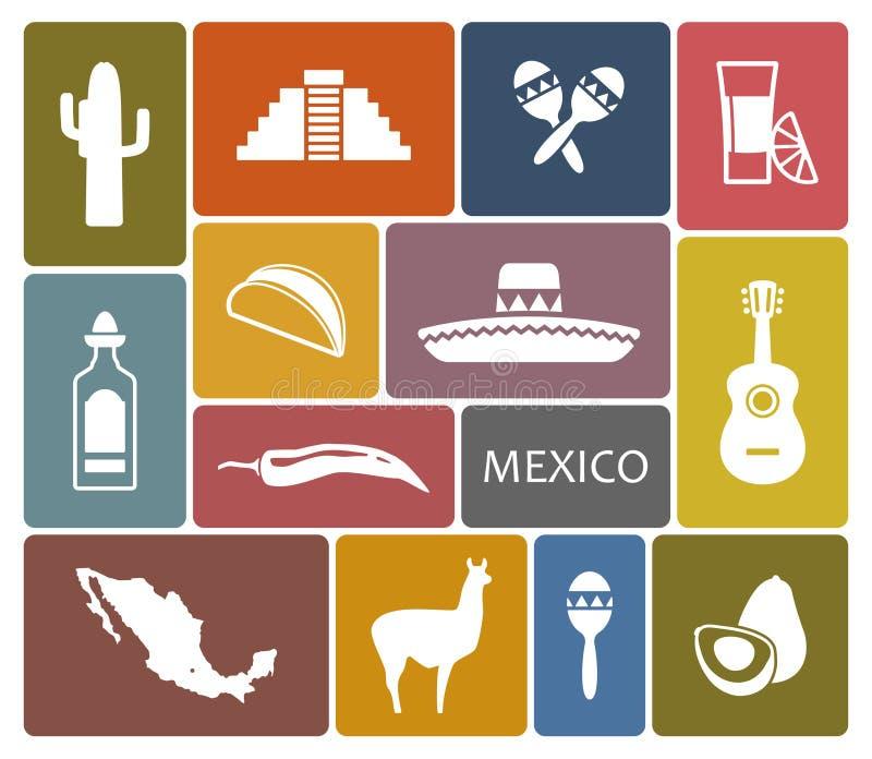 Ícones de México ilustração stock