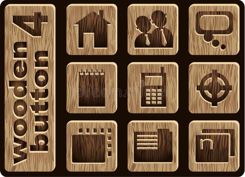 Ícones de madeira ilustração stock