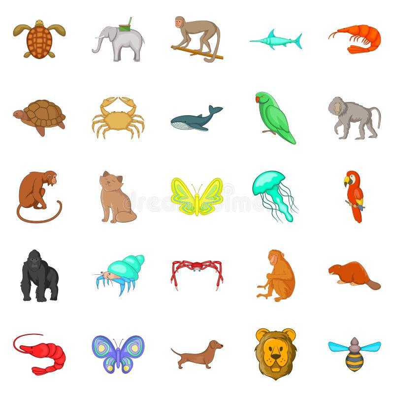Ícones de madeira ajustados, estilo dos animais dos desenhos animados ilustração stock