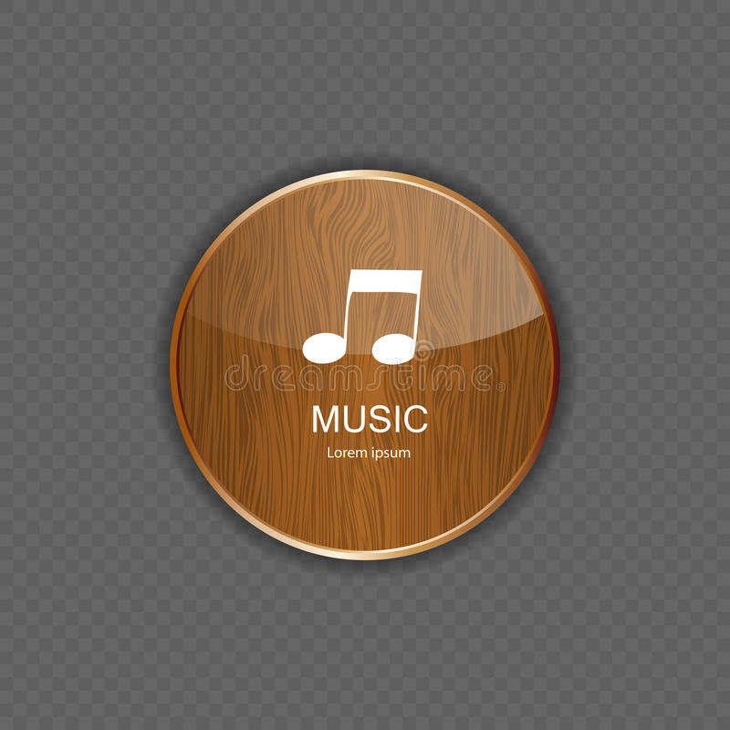 Ícones de madeira da aplicação da música ilustração do vetor