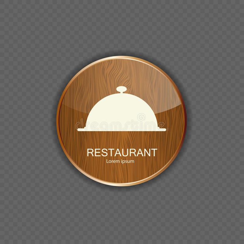 Ícones de madeira da aplicação do alimento e da bebida ilustração do vetor