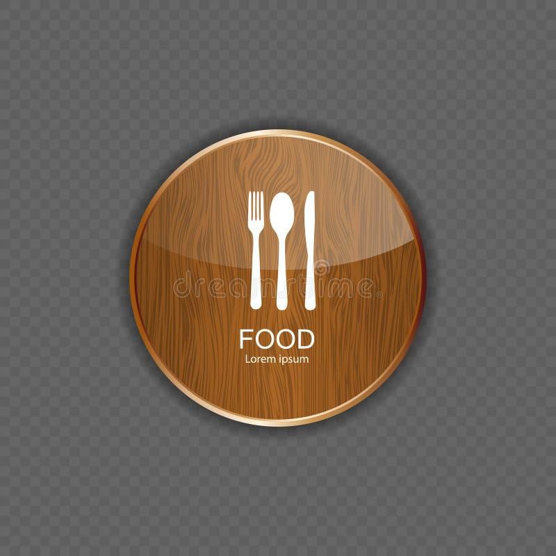 Ícones de madeira da aplicação do alimento e da bebida ilustração stock