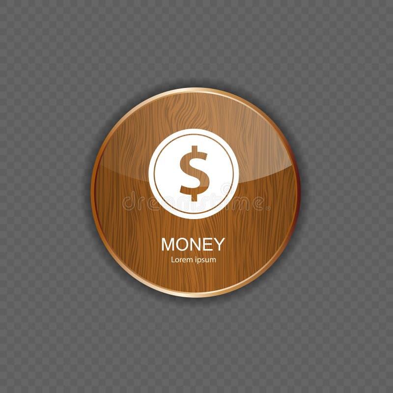 Ícones de madeira da aplicação do dinheiro ilustração do vetor