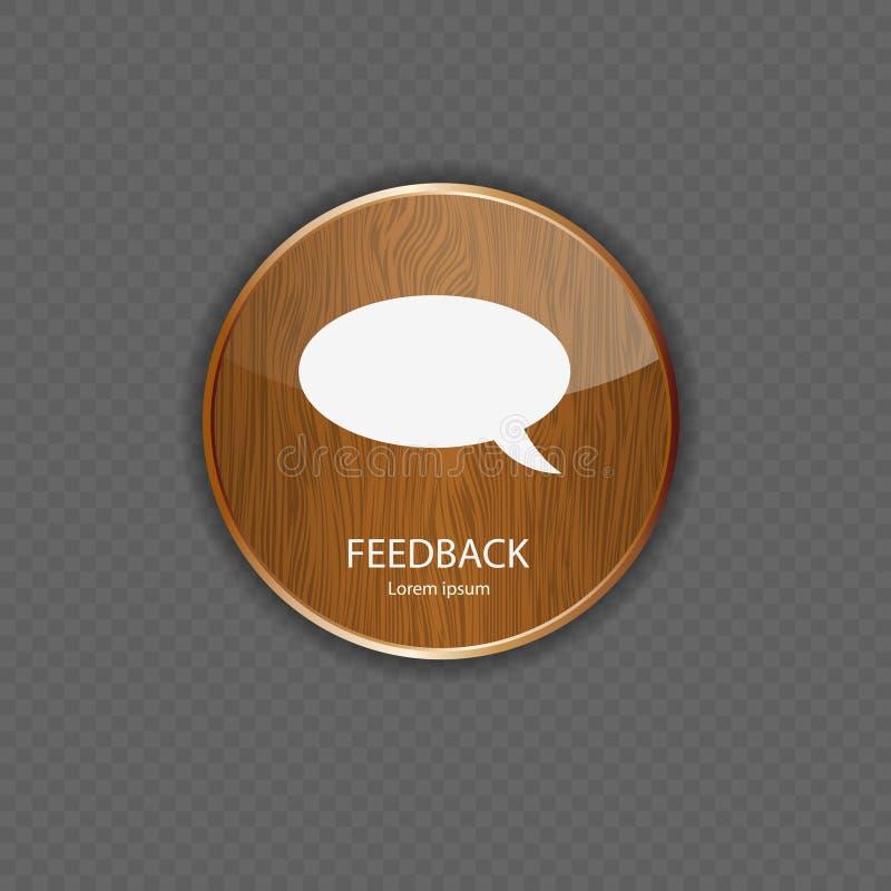 Ícones de madeira da aplicação do feedback ilustração royalty free