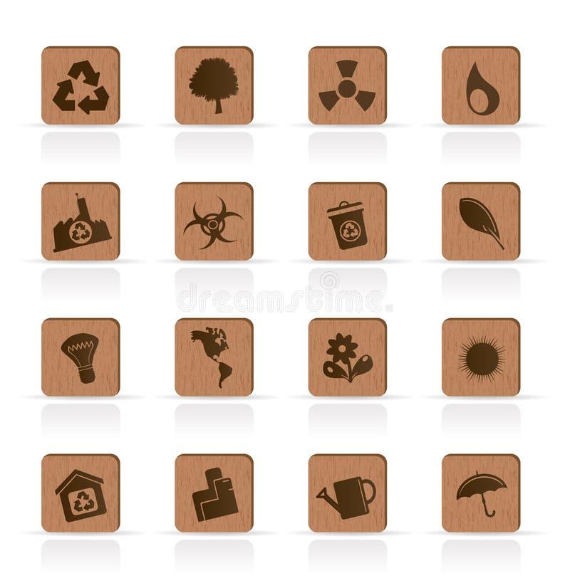 Ícones de madeira da ecologia - jogo do ícone do vetor ilustração do vetor