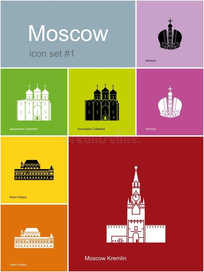 Ícones de Moscou ilustração royalty free