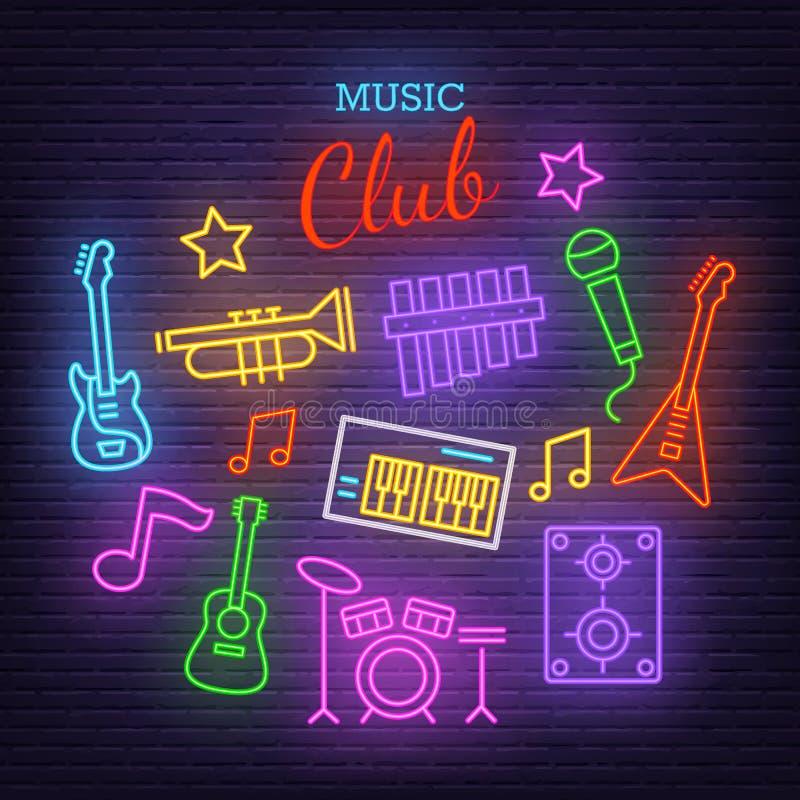Ícones de néon da faixa da música ilustração royalty free