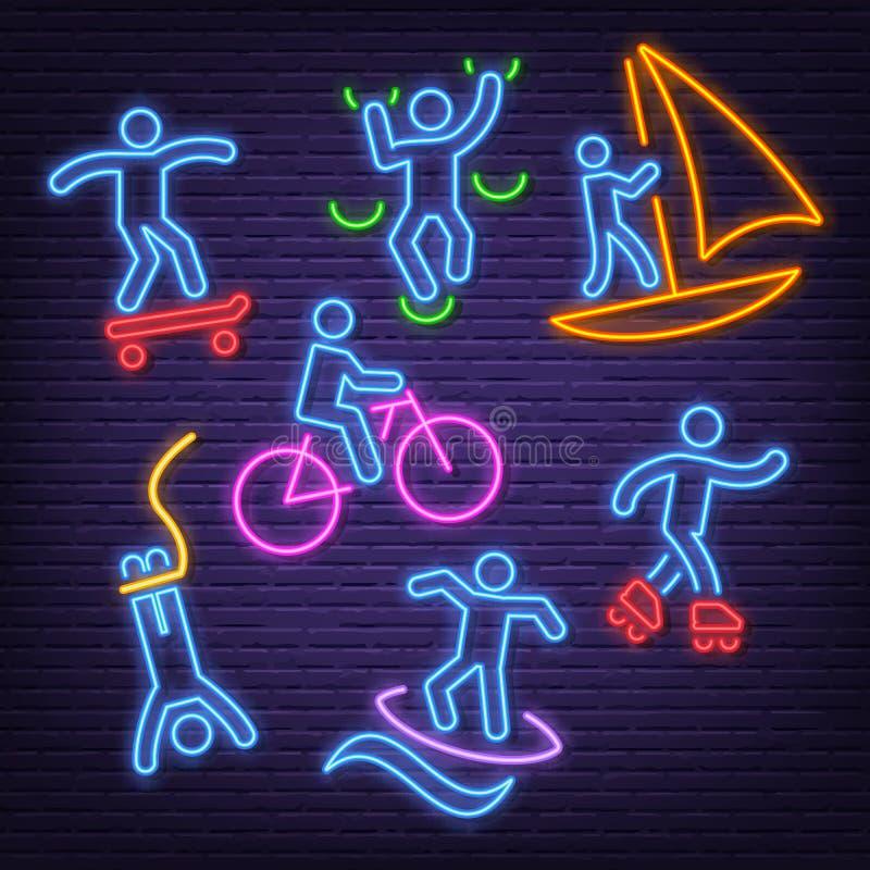 Ícones de néon do esporte extremo ilustração stock