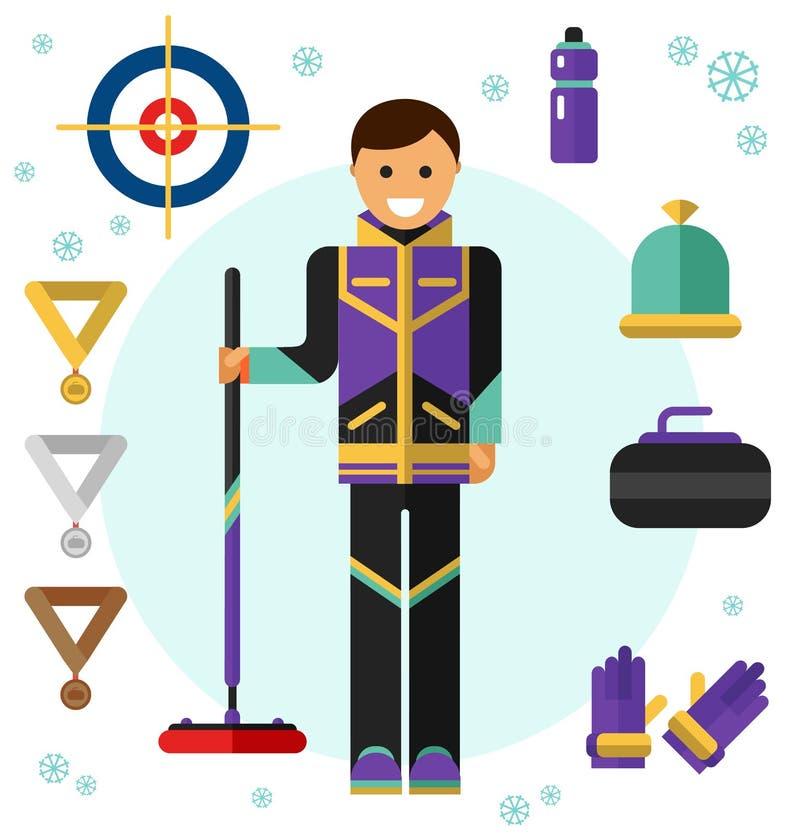 Ícones de ondulação do jogo do esporte do gelo ilustração royalty free